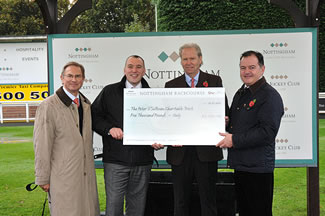 Peter Jensen , Chairman of Nottingham Racecourse and long time Trust Supporter initiates £5000 donation and race in Peter's honour